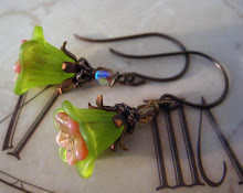 Celery And Pink Vintage Inspired Earrings