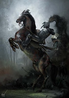 рыцарь тьмы, конь встает на дыбы