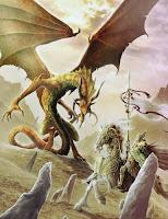 сражение золотого дракона против рыцаря на коне