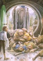 нежданные гости: гномы и волшебник Гендельф, приходят к хобиту Бильбо Беггинсу