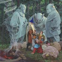 окаменевшие троли, волшебник Гендальф и хобит Бильбо Беггинс вызволяют гномов