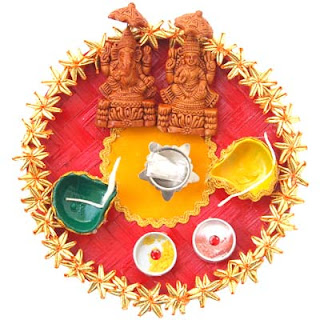 My world diwali pooja thali decoration ideas for Aarti thali decoration with flowers