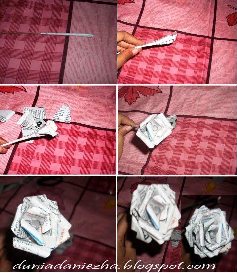 Dan jadilah sekuntum mawar dari kertas koran bekas. :-D