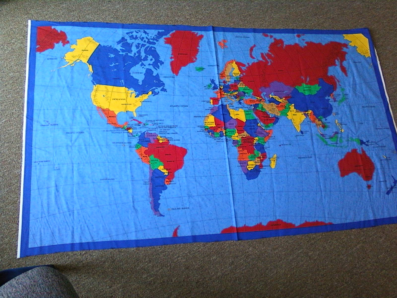 World map for mobile classrooms this cloth map of the world can easily be converted to a light weight wall hanging that will not succumb to paper dissolving humidity of west africa gumiabroncs