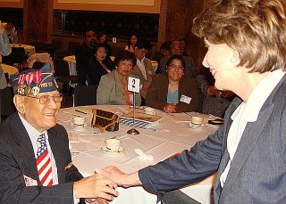 Speaker Nancy Pelosi & FilVet Celestino Almeda, 91 (22 May 2008, photo courtesy of ACFV)