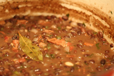 Cuban black beans in the pot
