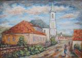 Vojtech Polakovič: Evanjelický kostol s farou, akryl