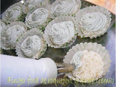 Finger food  de roquefort y queso crema
