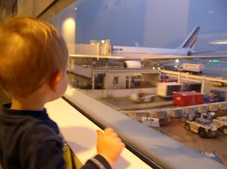 Benjamin watching airplanes