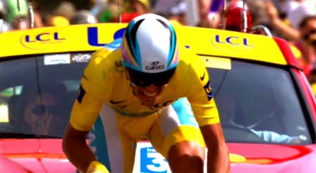 Alberto Contador en pleno esfuerzo