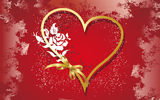 White Flower Gold Heart Love Wallpaper