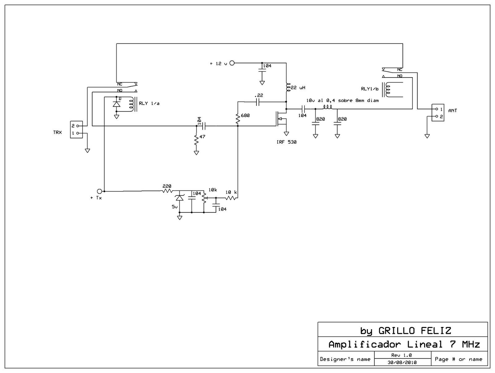 Circuito Lineal : Lu fr amplificador lineal mosfet para qrp de m