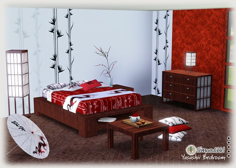 my sims 3 blog yasashii bedroom set by simcredible designs. Black Bedroom Furniture Sets. Home Design Ideas