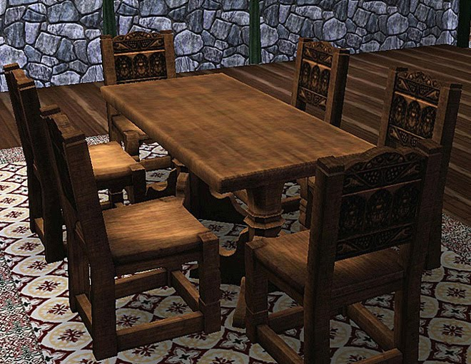 My sims 3 blog medieval dining table and chairs sims 2 for Medieval living room furniture