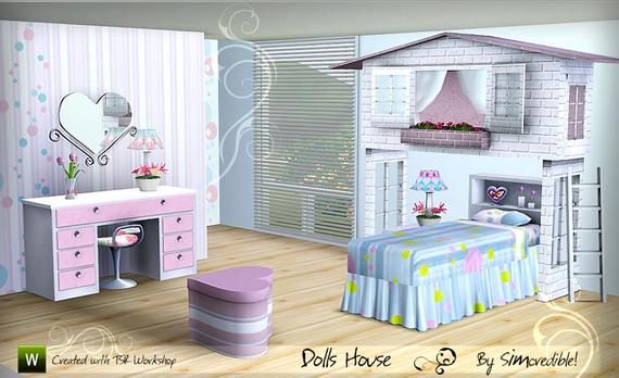 My sims 3 blog doll 39 s house bedroom set by simcredible for Sims 3 6 bedroom house