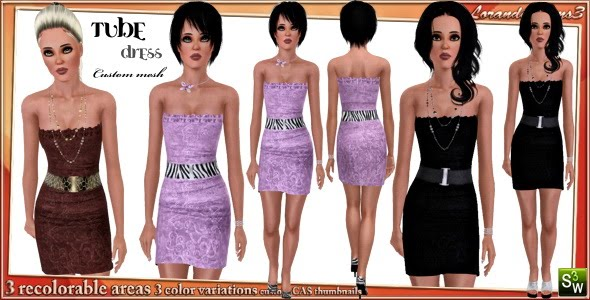 Belted tube dress for Adult Females by Lore. Download at Lorandia Sims