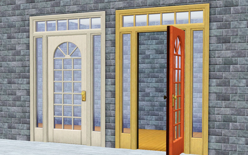 My sims 3 blog the sims 2 colonial tract door by technodrome for Colonial windows and doors
