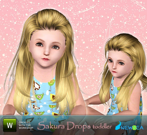 Newsea Sakura Drops Female Hairstyle. Download at The Sims Resource