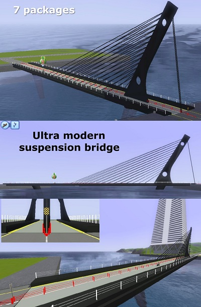 My Sims 3 Blog: Bridges - ultra modern suspension for CAW by Carlos