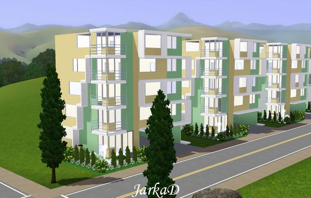 My sims 3 blog modern apartment building by jarkad for Apartment design sims 3
