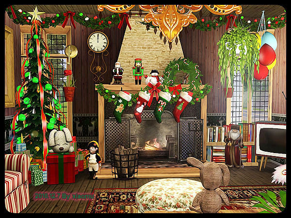 My sims the colorful christmas log cabin