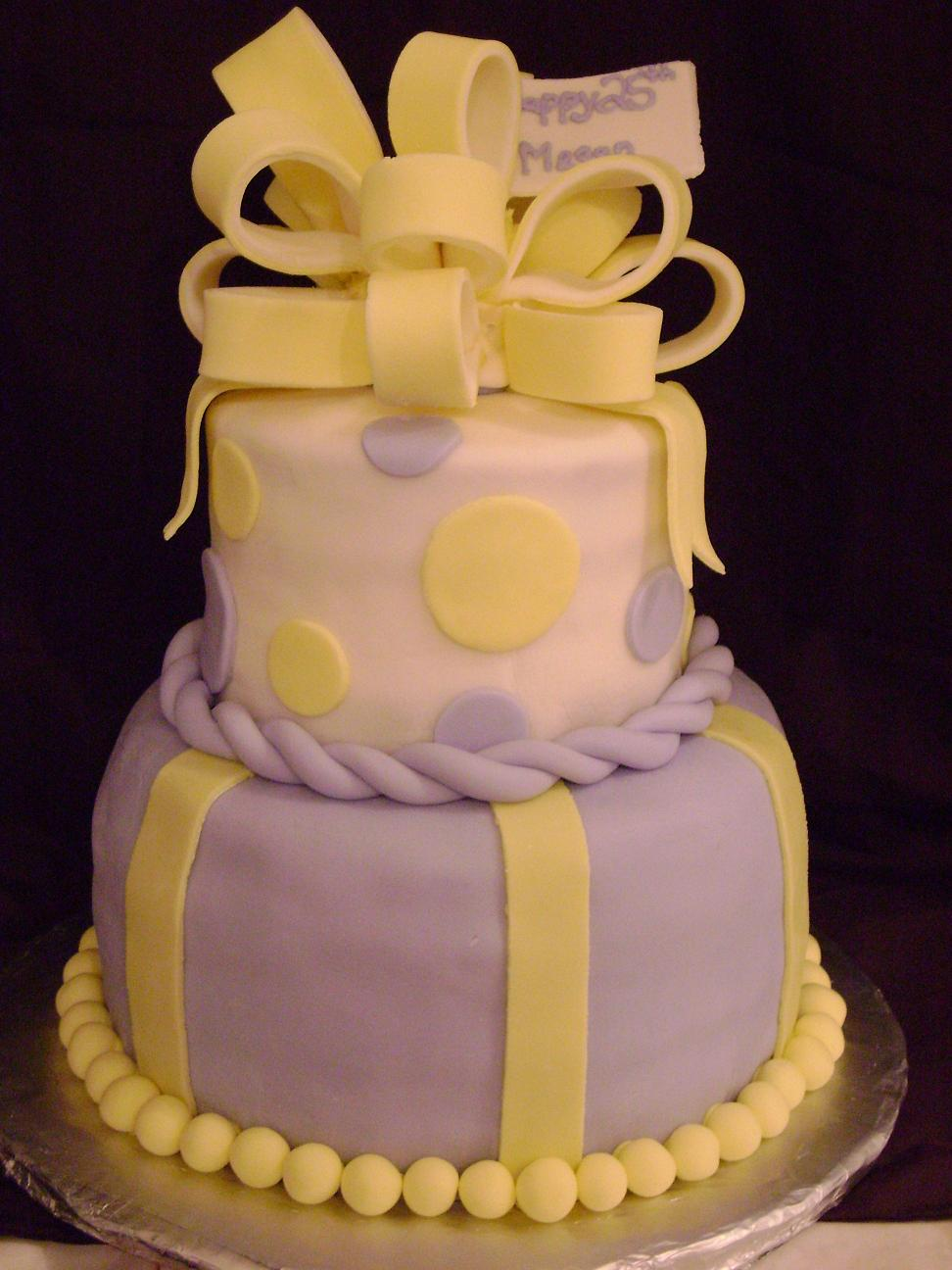 This 2 Tiered Cake Was Created For A Friend Her 25th Birthday Favorite Colours Are Purple Yellow And White She Had Picture Of