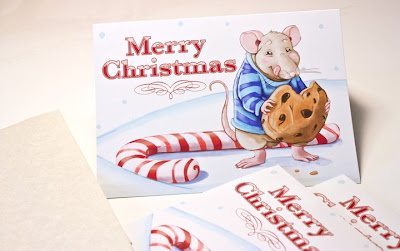 Aja Wells promotional merry christmas postcard with mouse illustration printed by GotPrint