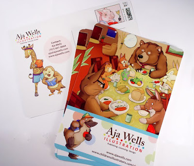 Aja Wells colorful illustration promotional postcard printed by GotPrint