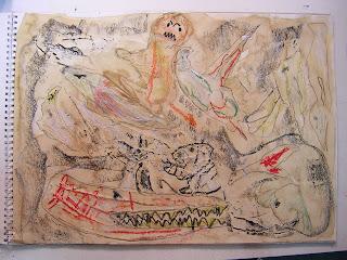 Taller infantil de pintura:la prehistoria en la Academia de dibujo y pintura Artistas6 de Madrid. Clases y cursos para aprender a pintar.