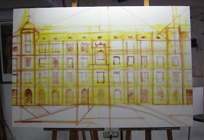 Paso a paso de un cuadro de la Plaza Mayor de Madrid pintado en acrílico por Juan Sanchez Sotelo. Academia de dibujo y pintura Artistas6 de Madrid. Cursos y clases para aprender a pintar.