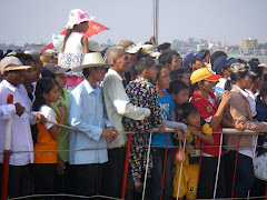 Watching boat races in Phnom Penh