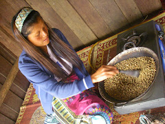 Roasting coffee on the Bolaven Plateau