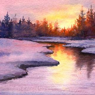 Friday May 15 2009 Evening Reflection Original Miniature Watercolor Painting