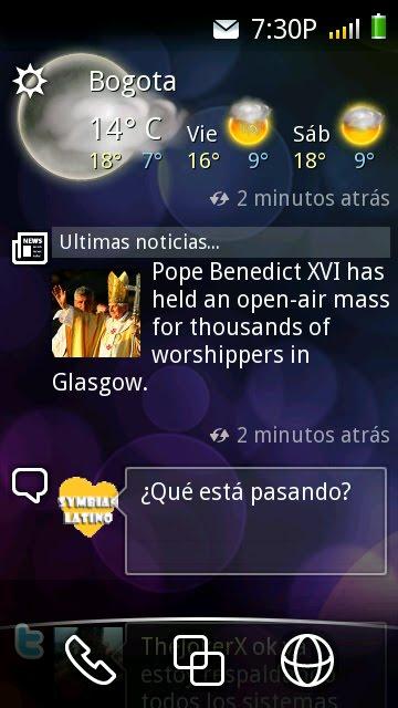 Pantalla de Inicio Social de Symbian