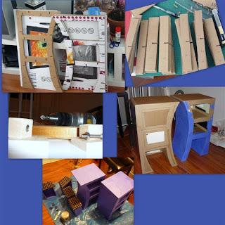 Meubles-table-de-chevet-en-carton-bleu