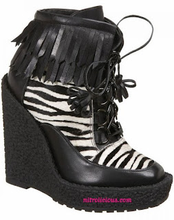 Emma Cook for Topshop Zebra Print Lace Up Wedge