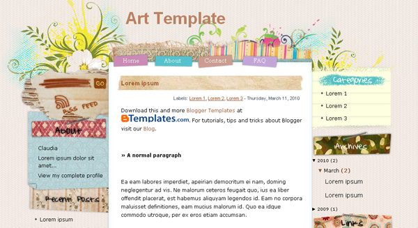 Art Template Blogger-Blogspot Templates