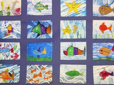 Viele bunte Fische, von Kinderhand gestaltet