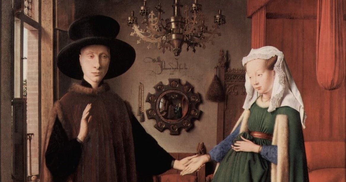 interpretations of van eyck s arnolfini wedding Can you describe the painting the arnolfini marriage using element and principles of art ) texture  the arnolfini marriage - jan van eyck help.