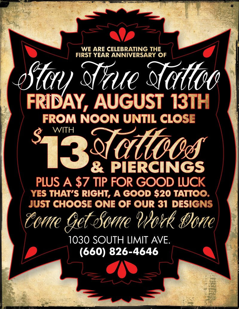Billy welch stay true tattoo flyer for Friday the 13th tattoo specials near me