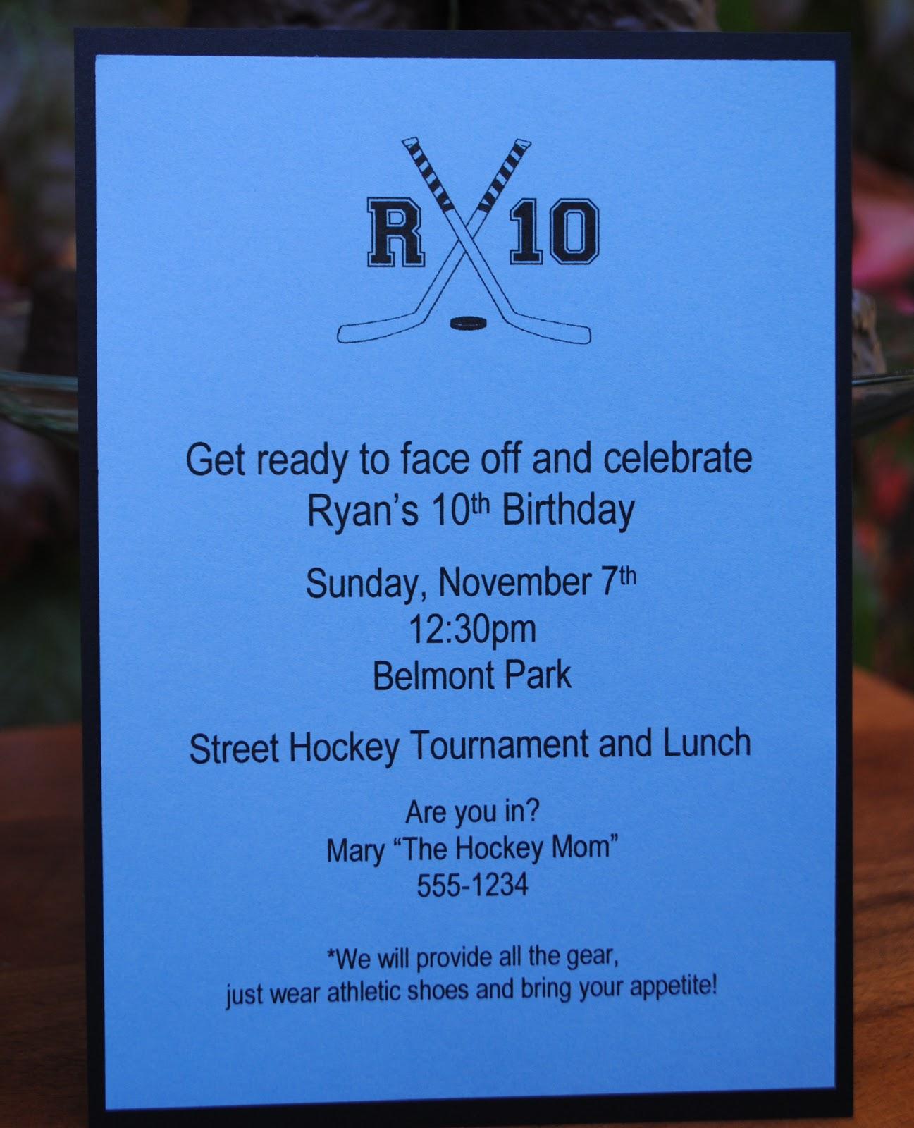 Jac o lyn Murphy A Hockey Party and Special Cake – Hockey Party Invitations