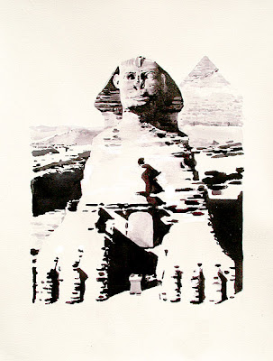 watercolour of great sphinx of gaza