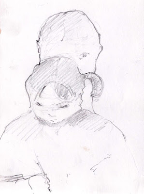 graphite drawing of a mother & child drawing a picture