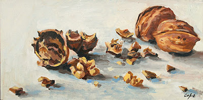oil painting of walnuts