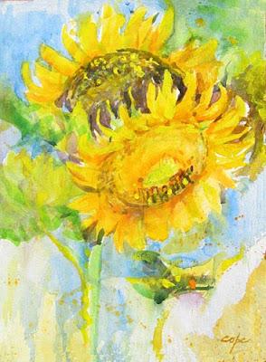 Sunflowers 3- watercolour cadmium yellow & more cadmium yellow