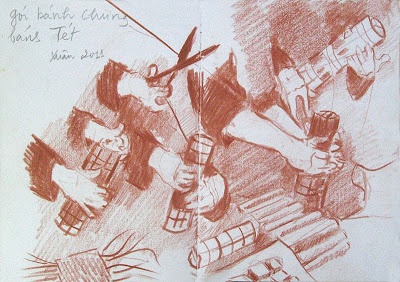 drawing of hands making cakes for tet