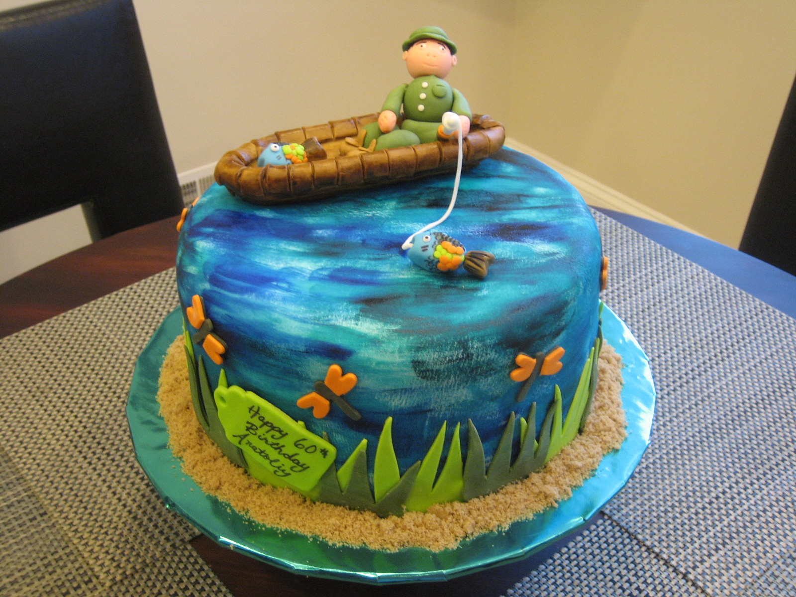 Fish Theme Birthday Birthday Cake http://www.lapatisserierose.com/2011/01/fishing-themed-60th-birthday-cake.html