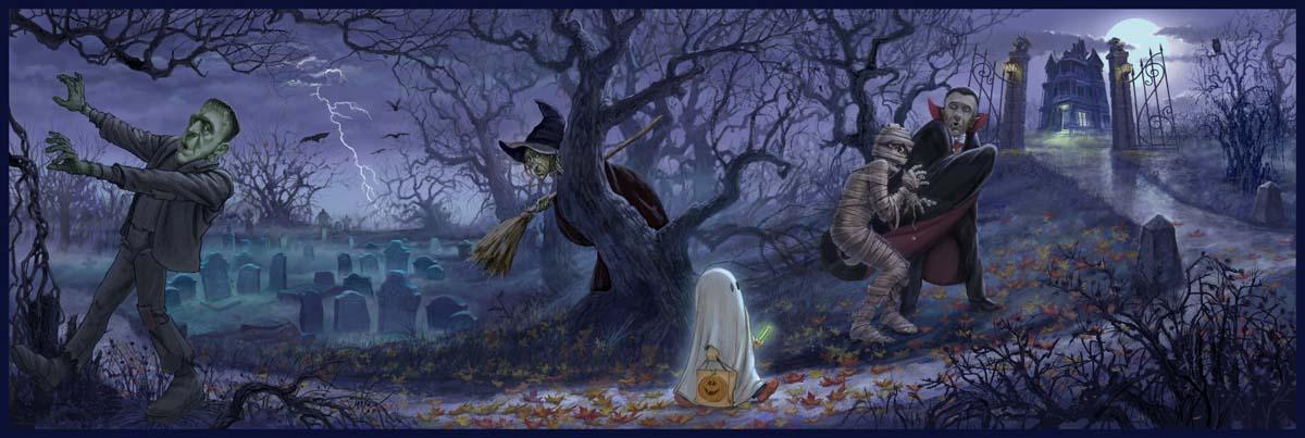 "K. Sean Sullivan Art Blog » A Halloween Scene: ""Giving a Fright"""