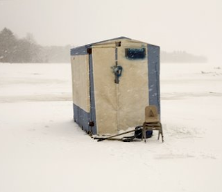 ice fishing, Scott Peterson, Maine, photo, shack
