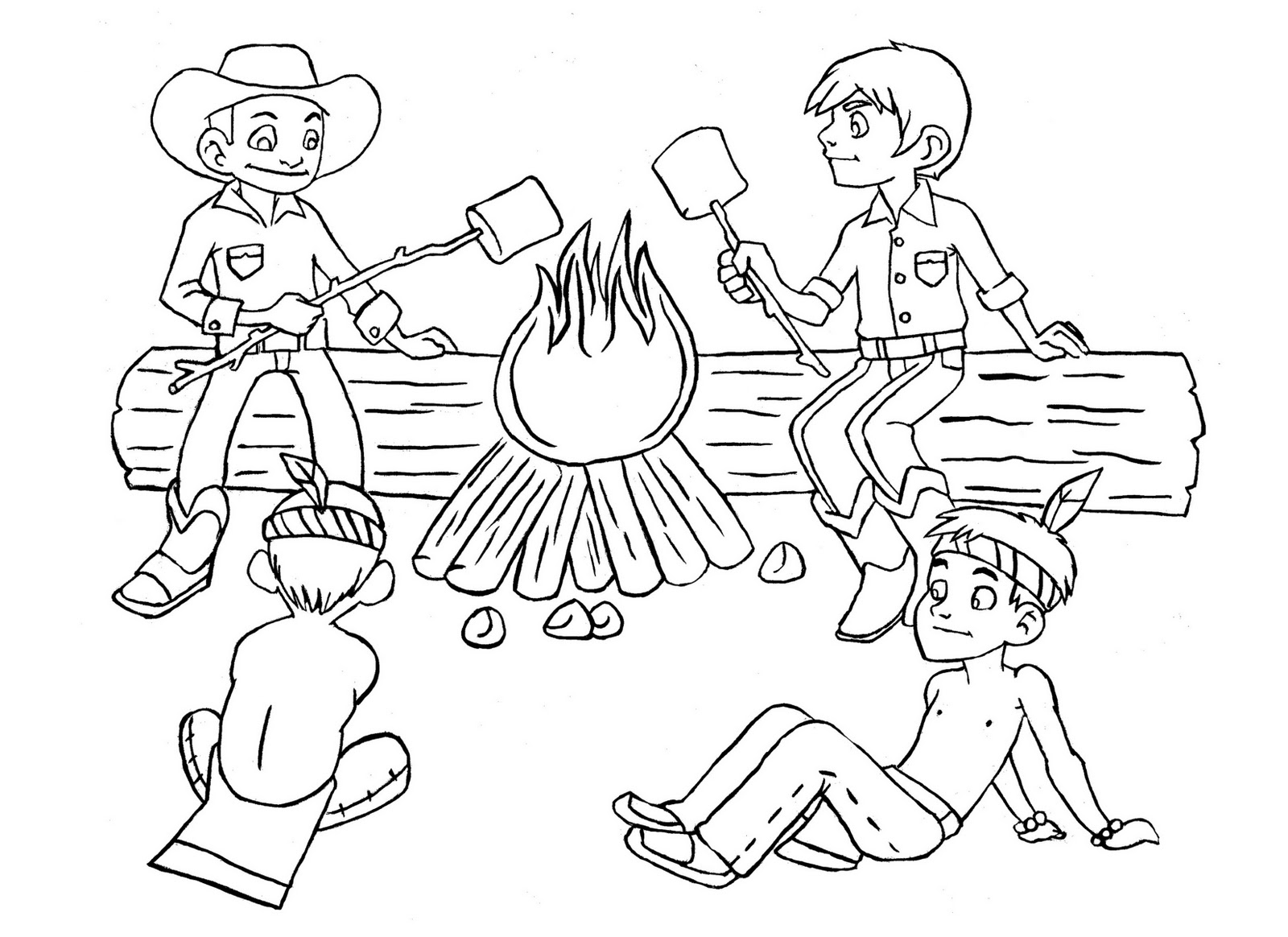 Cowboy And Indians Campfire For Client By Hans Guignard